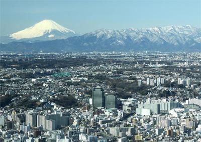 保土ケ谷の街と富士山
