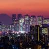 夕景富士と新宿高層ビル群