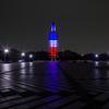 駒沢公園オリンピック記念塔 トリコロールカラーライトアップ
