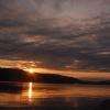 諏訪湖の朝焼け