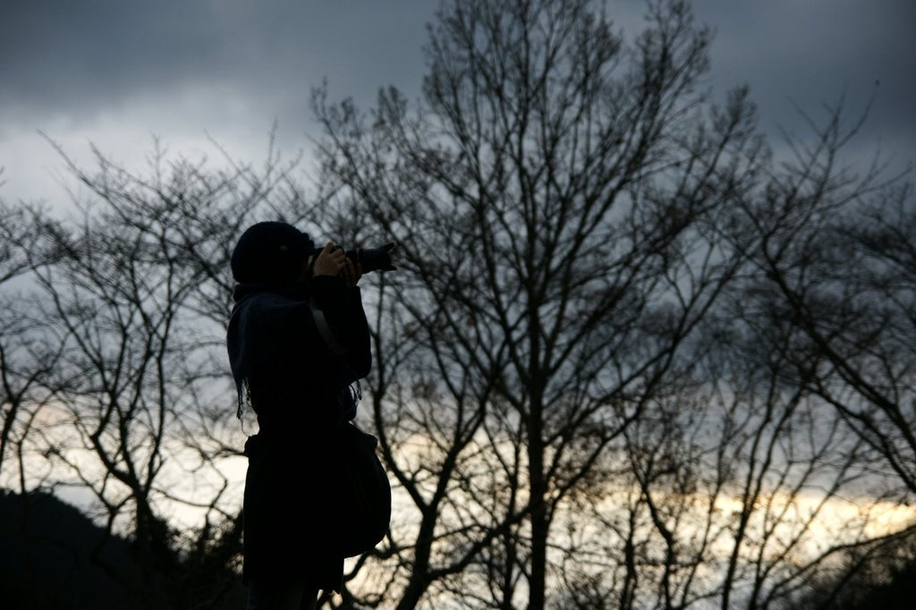 夕暮れのカメラマン