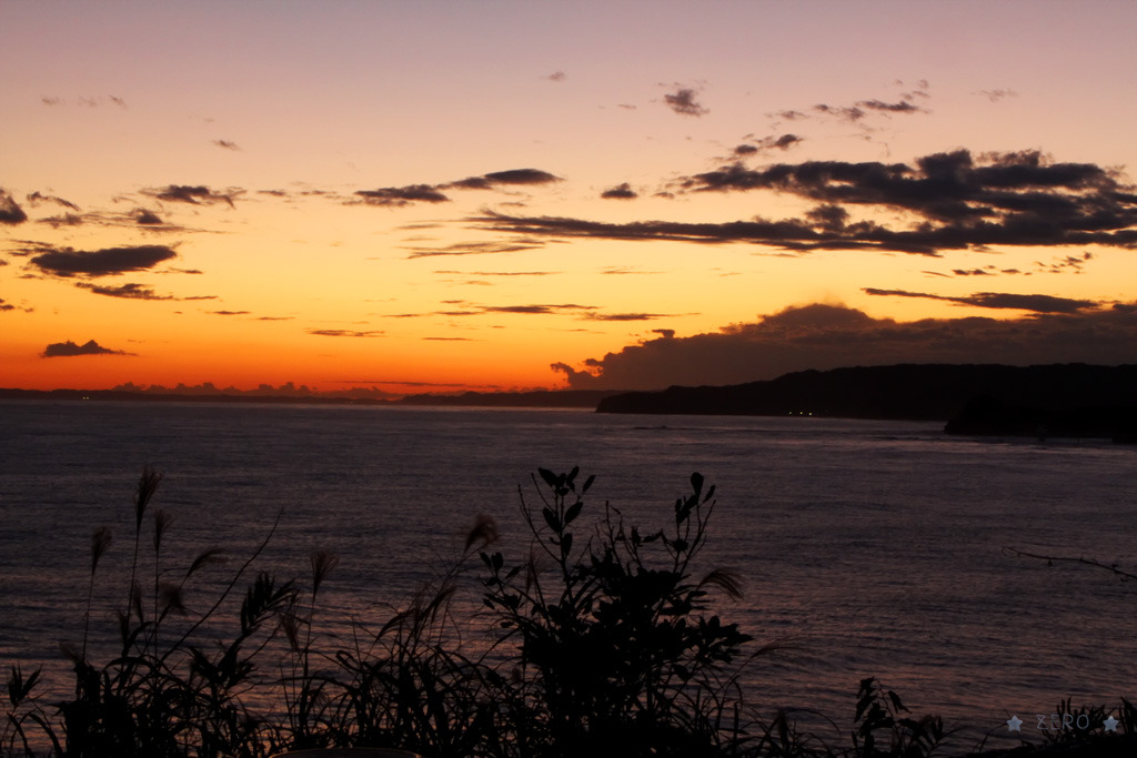 海で夕焼け