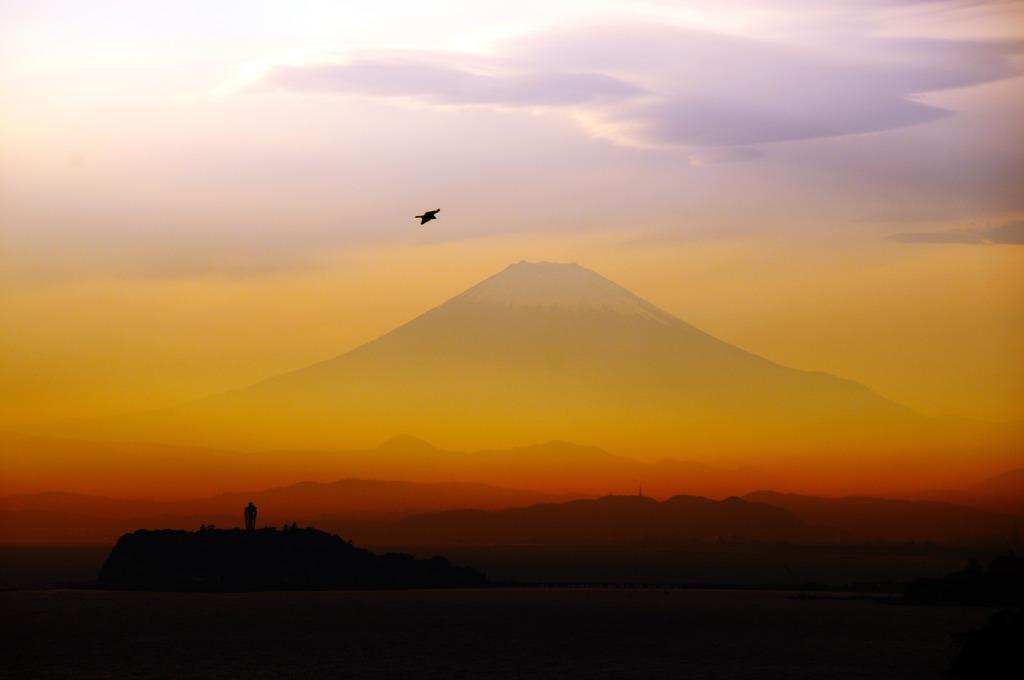 江ノ島と富士