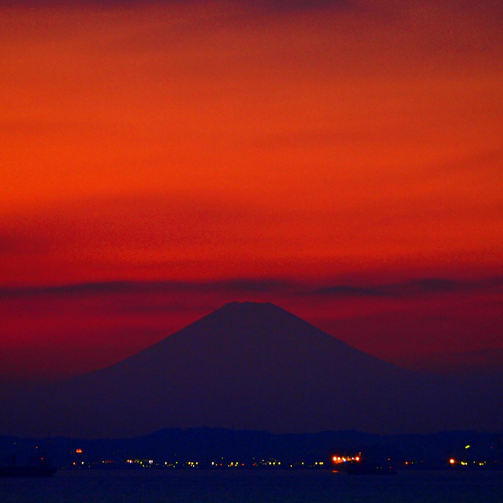富津岬から見る富士山