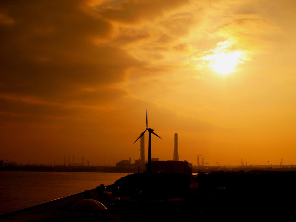 早朝の風車