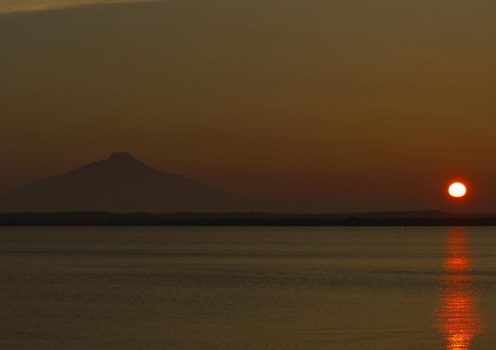 利尻富士の夕陽