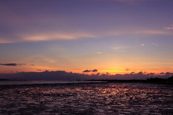 干潟の夕焼け