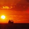 明石海峡大橋と夕日2