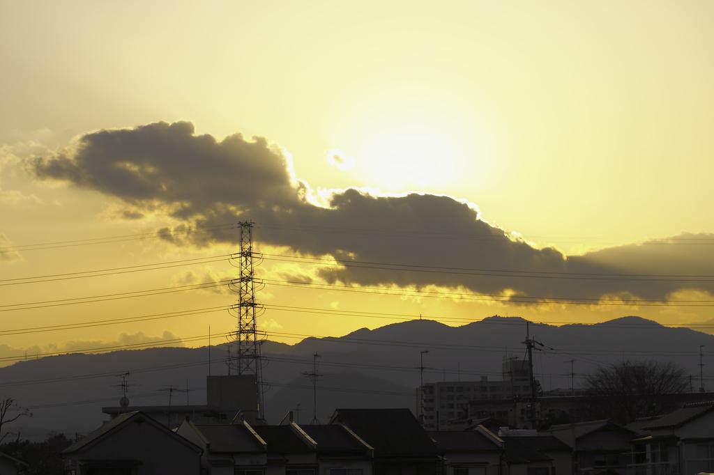 田舎町の夕陽
