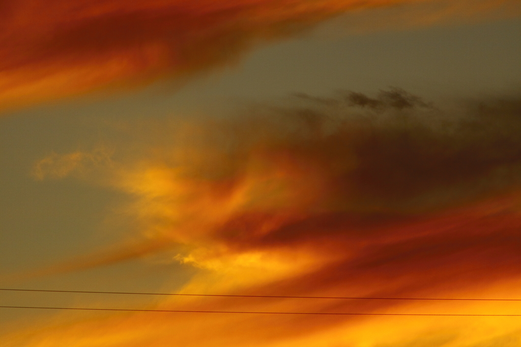 平行線と夕焼け雲