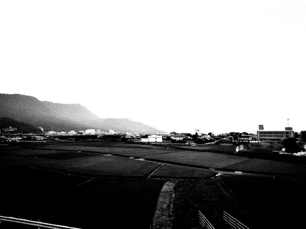 田園風景モノクロ