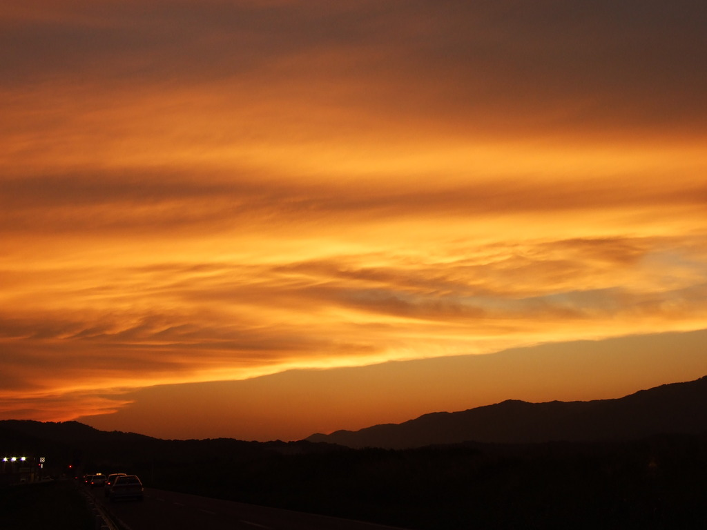 国道163号線・大和街道の夕日