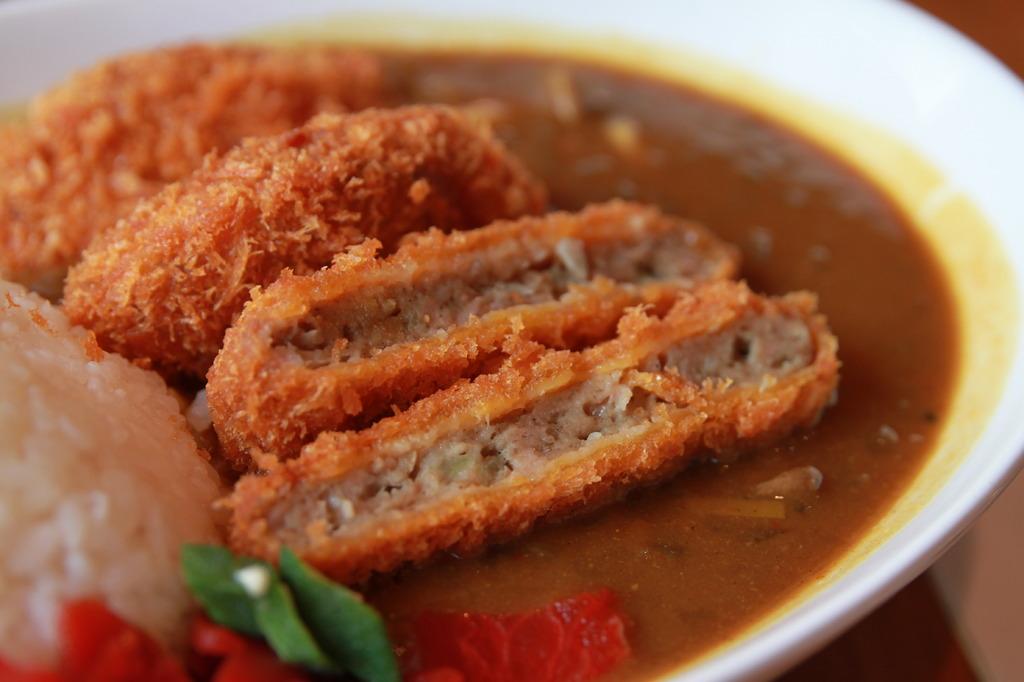 Deepfry pork chop with curry
