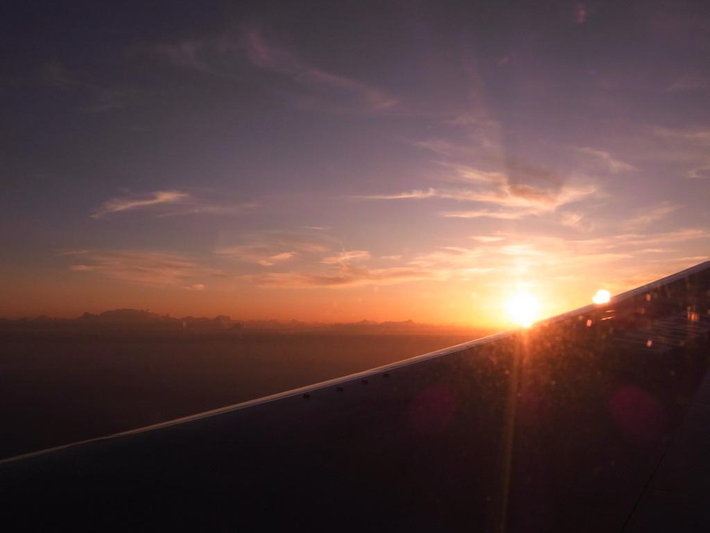 翼に沈む夕日
