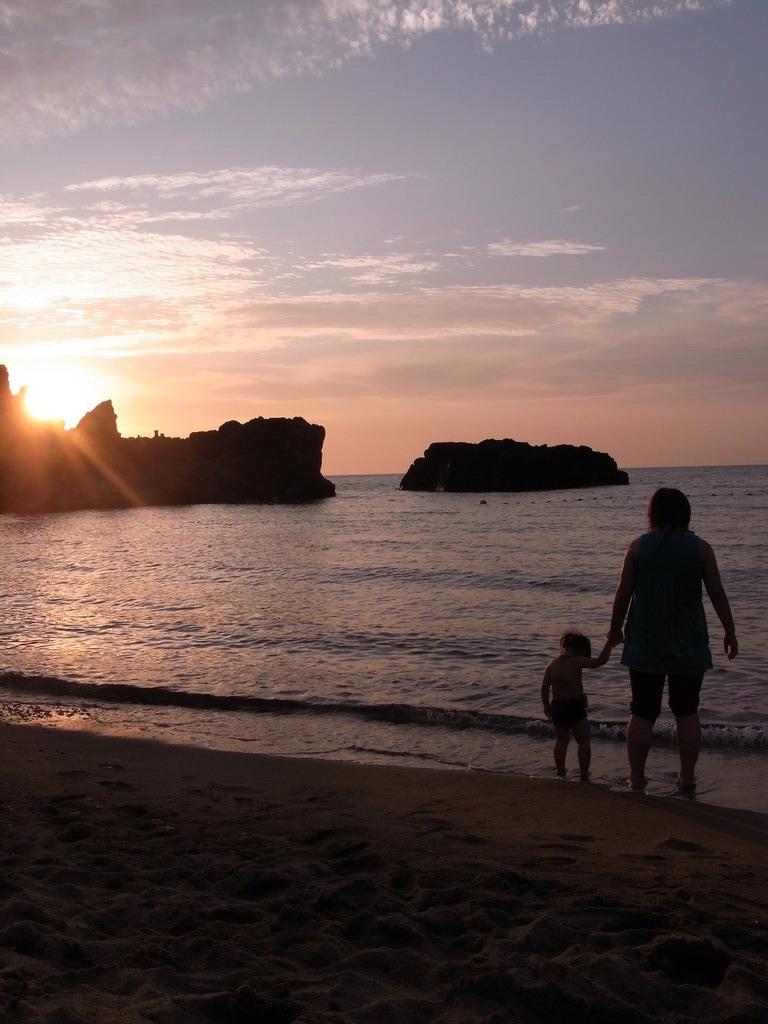 夕日とママと愛娘
