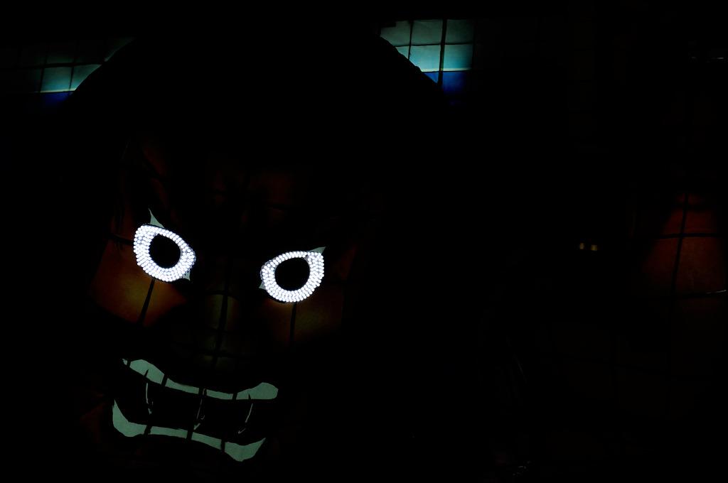 闇に光る目