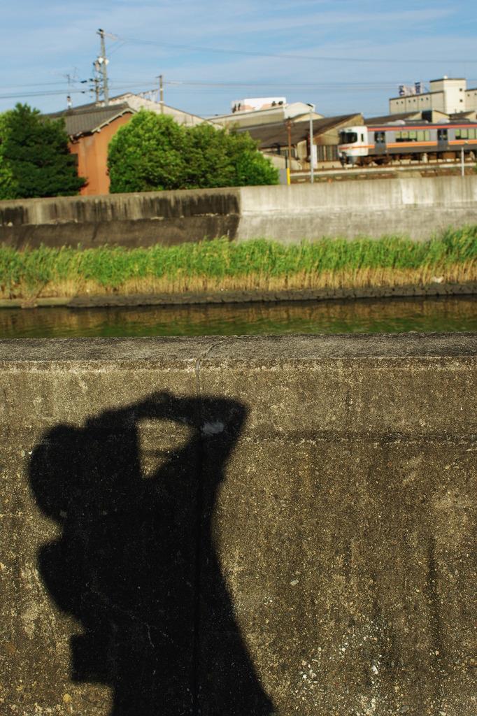 電車をとる影