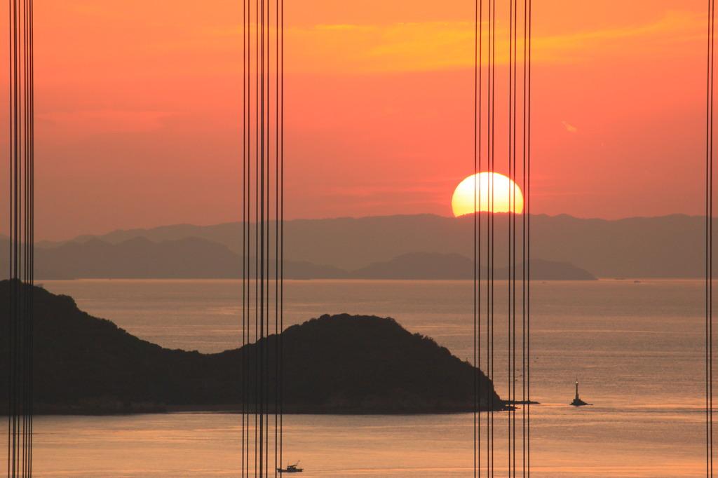 沈む夕日と瀬戸大橋