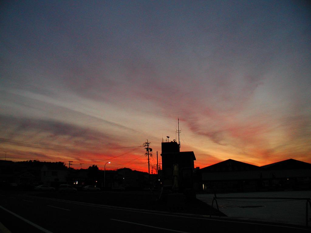 三重県の港町でみた夕焼け