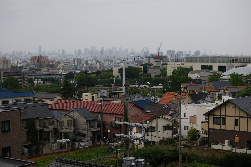 ベランダから見た大阪梅田