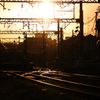 夕日と鉄路
