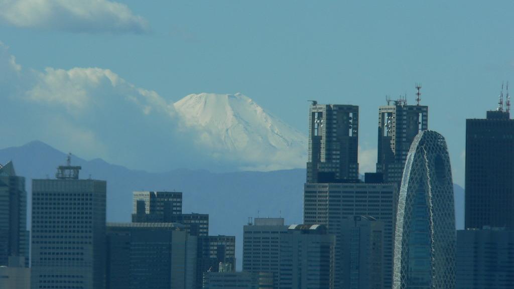 望遠の先に白き富士