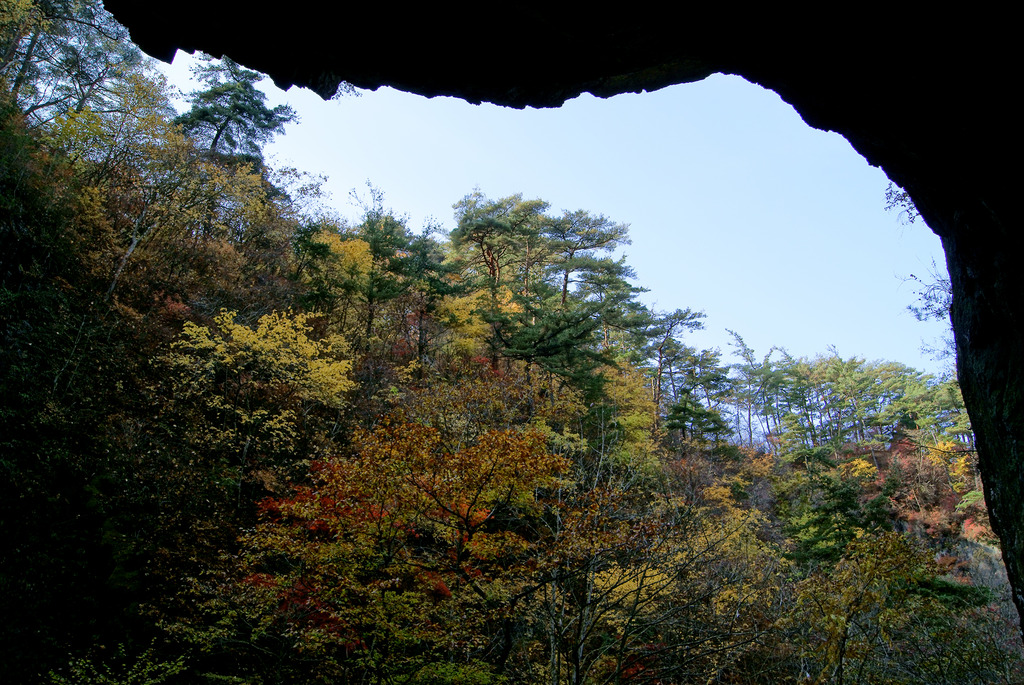 夢想滝不動尊の岩窟からの紅葉