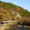 久慈川の流れと晩秋の藤衣岩