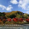あゆのつり橋と紅葉燃える矢祭山