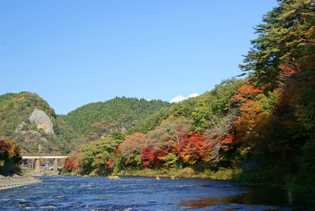 久慈川沿いの紅葉と大だるま岩