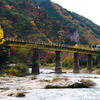 鉄橋を渡る水郡線と紅葉の乙女ヶ越