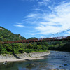 秋空と久慈川とあゆのつり橋