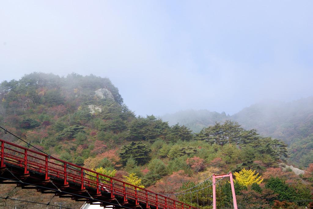 朝もやの中のあゆのつり橋と秋の矢祭山
