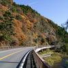 晩秋の藤衣岩と矢祭大橋