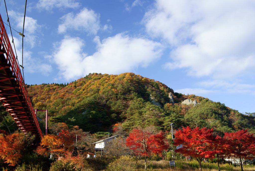 見上げるあゆのつり橋と紅葉燃える矢祭山