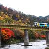 紅葉の久慈川鉄橋を渡る水郡線
