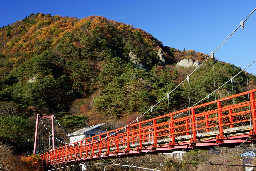 あゆのつり橋と晩秋の矢祭山