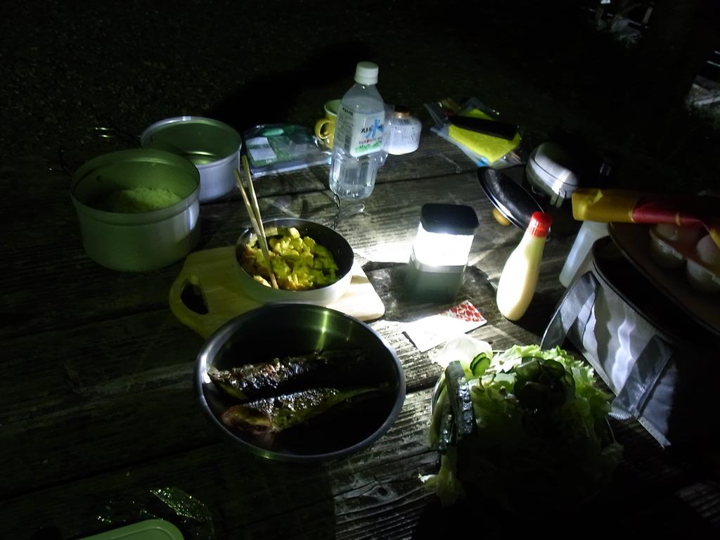 19日 祖谷渓キャンプ場での晩飯