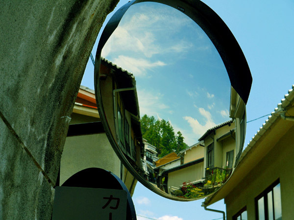 鏡に映る景色