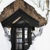 茅屋根の電話ボックス
