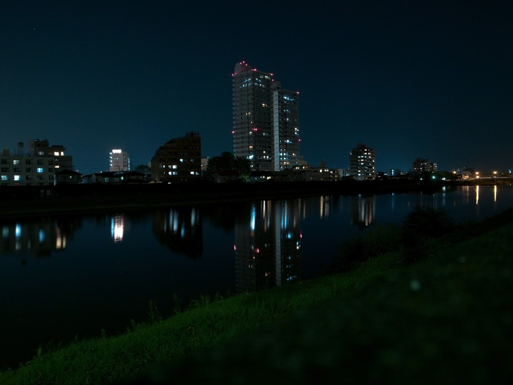 夜の河川敷