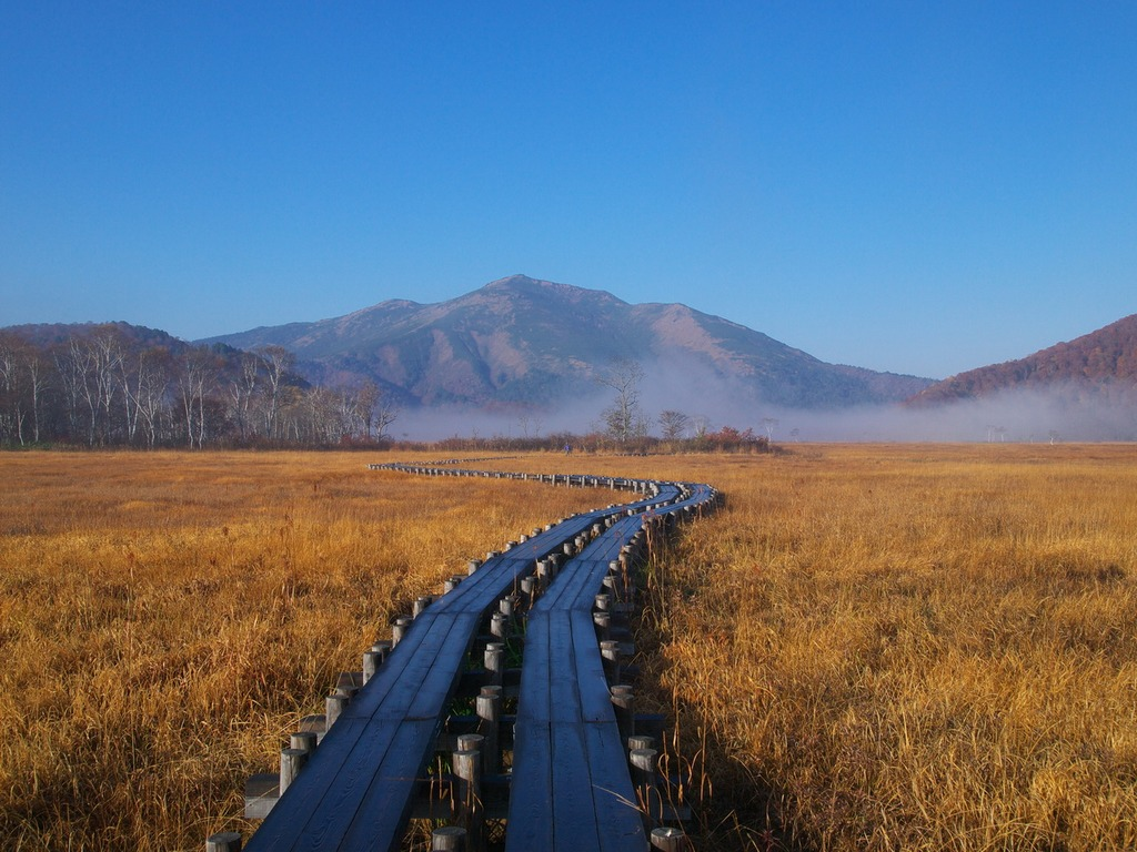 朝霧の尾瀬ヶ原ー至仏山