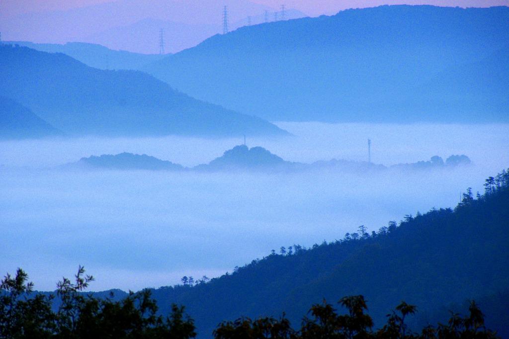 里山の霧景