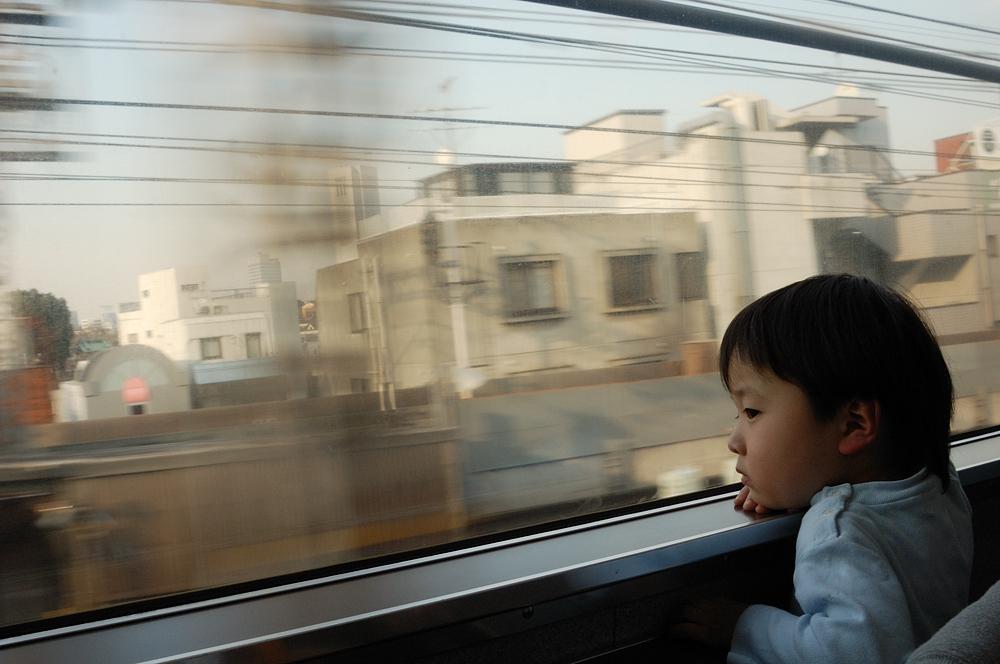 息子と車窓