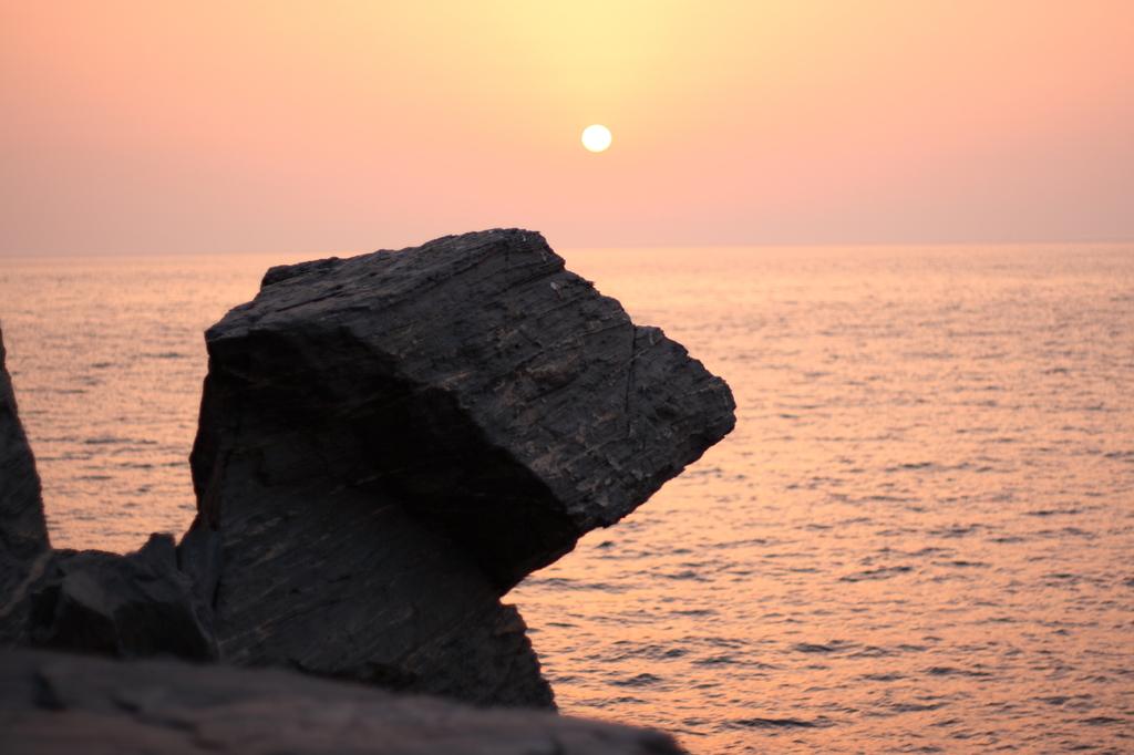 夕陽を見つめる