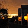 竹の山の夕焼け