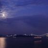 中秋の名月と来島大橋