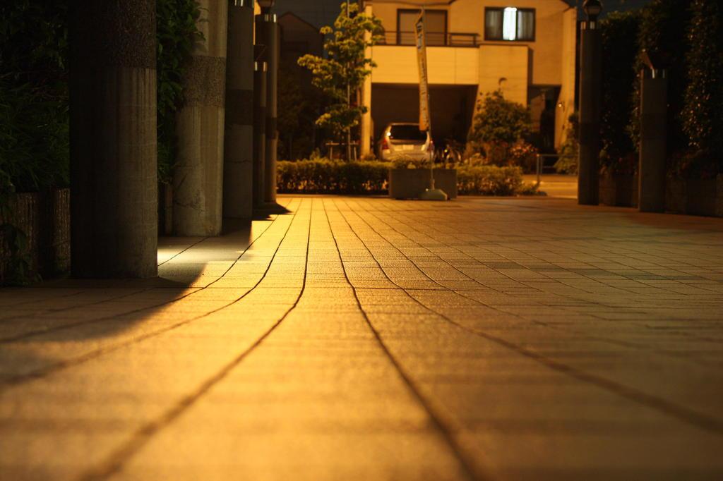 深夜の自宅玄関前
