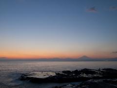 富士を望む夕景