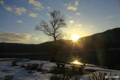 余呉湖の朝